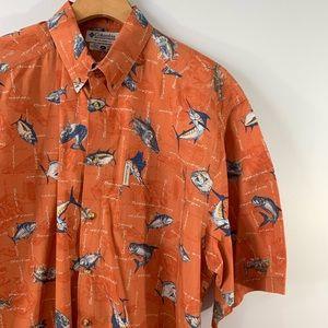 COLUMBIA . FIsh Print S/S Button Down Shirt . XL